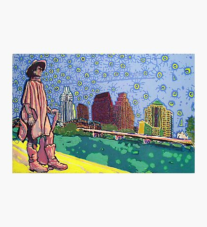 Stevie Ray Vaughan Statue, Austin, Texas Painting Photographic Print