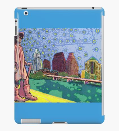 Stevie Ray Vaughan Statue, Austin, Texas Painting iPad Case/Skin