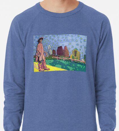Stevie Ray Vaughan Statue, Austin, Texas Painting Lightweight Sweatshirt