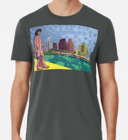 Stevie Ray Vaughan Statue, Austin, Texas Painting Premium T-Shirt