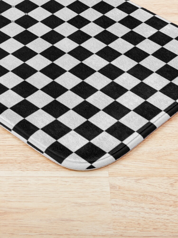 Alternate view of Checkered Flag, Chequered Flag, Motor Sport, Checkerboard, Pattern, WIN, WINNER,  Racing Cars, Race, Finish line, BLACK Bath Mat