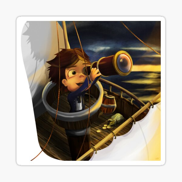 Boy Sailing the Ocean for Treasure Sticker