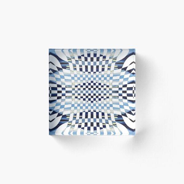 Chess, #formula, #chess, #pattern, #design, checkerboard, check, bank check, square, illustration, mosaic Acrylic Block
