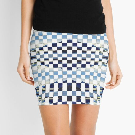 #formula, #chess, #pattern, #design, checkerboard, check, bank check, square, illustration, mosaic Mini Skirt