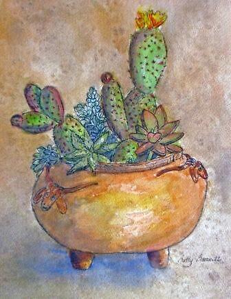 Cacti and Pottery by Betty Burnitt