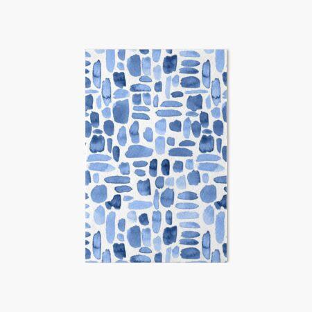 Watercolor Paint Brush Stroke Pattern - Blue Art Board Print