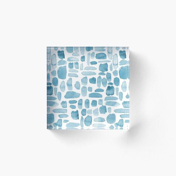 Watercolor Paint Brush Stroke Pattern - Blue Gray Acrylic Block