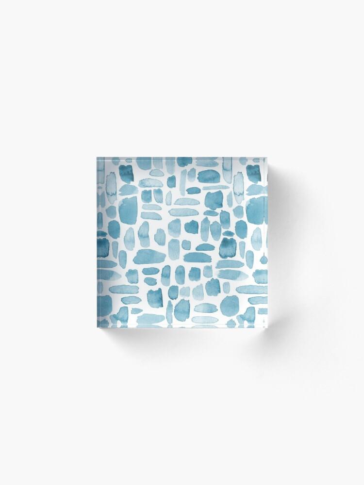 Alternate view of Watercolor Paint Brush Stroke Pattern - Blue Gray Acrylic Block