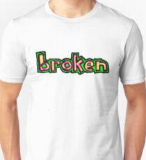 Blind Broken Skateboards Neon Green and Purple Unisex T-Shirt