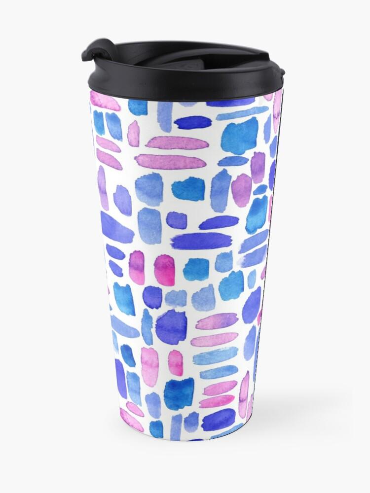 Alternate view of Watercolor Paint Brush Stroke Pattern - Blue, Purple, Pink Travel Mug