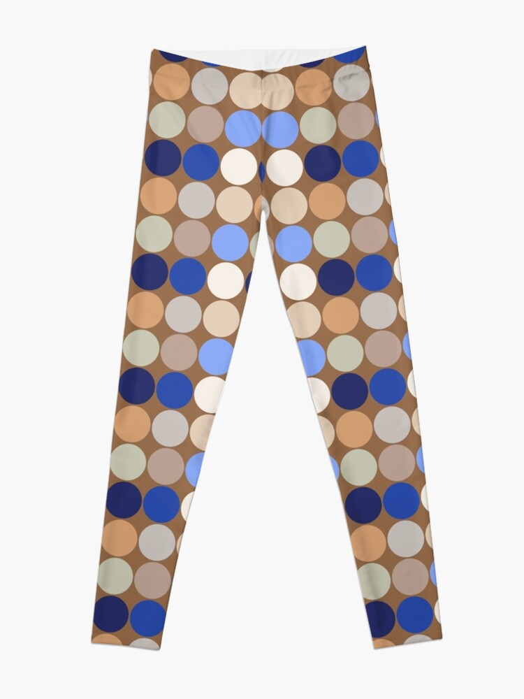 Alternate view of Mid-Century Giant Dots, Taupe, Beige and Blue  Leggings