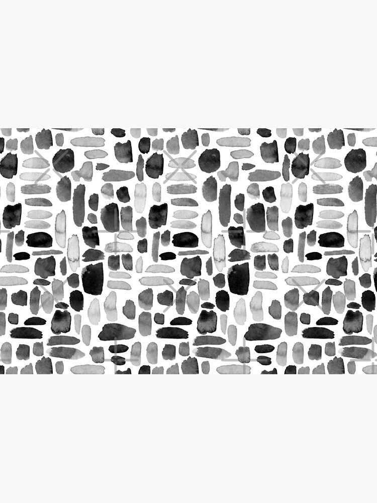 Watercolor Paint Brush Stroke Pattern - Black, White, Gray by annieparsons