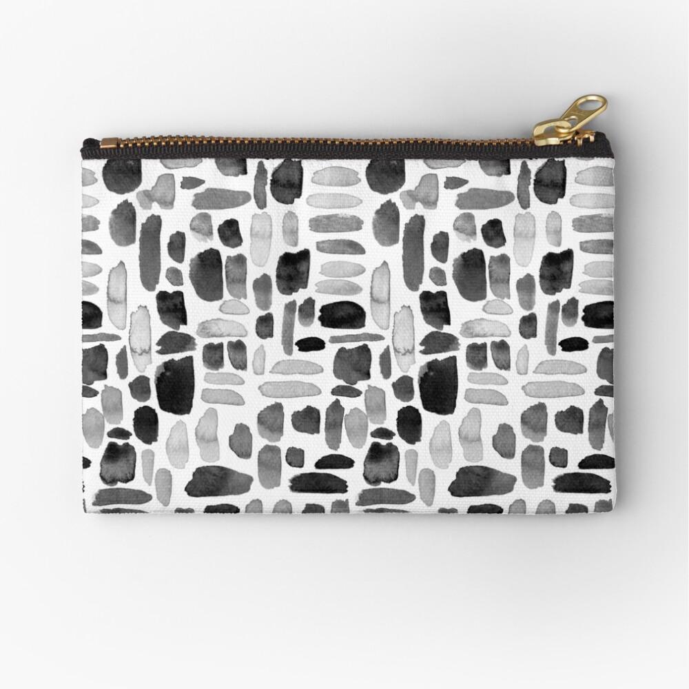 Watercolor Paint Brush Stroke Pattern - Black, White, Gray Zipper Pouch