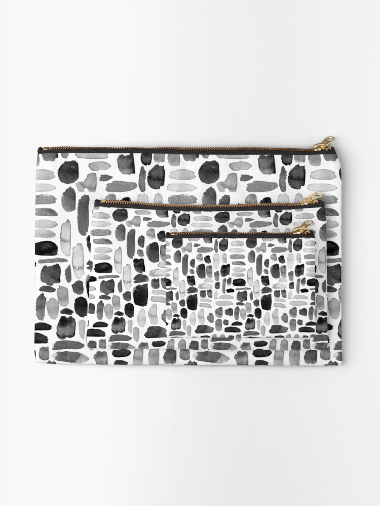 Alternate view of Watercolor Paint Brush Stroke Pattern - Black, White, Gray Zipper Pouch