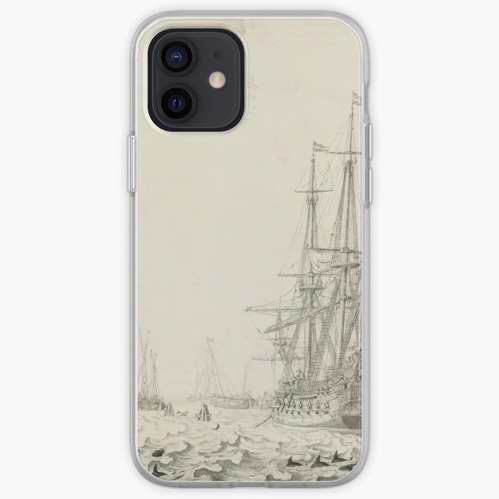 Dutch Ships near the Coast Oil Painting by Willem van de Velde the Elder iPhone Case & Cover