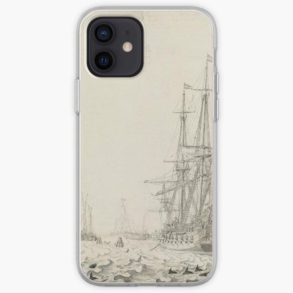 Dutch Ships near the Coast Oil Painting by Willem van de Velde the Elder iPhone Soft Case