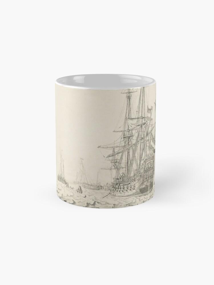Alternate view of Dutch Ships near the Coast Oil Painting by Willem van de Velde the Elder Mug