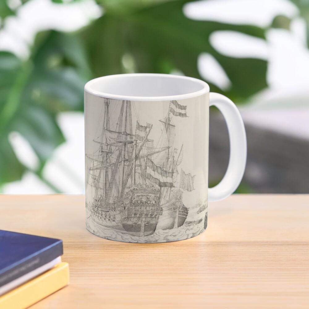 Dutch Ships near the Coast Oil Painting by Willem van de Velde the Elder Mug