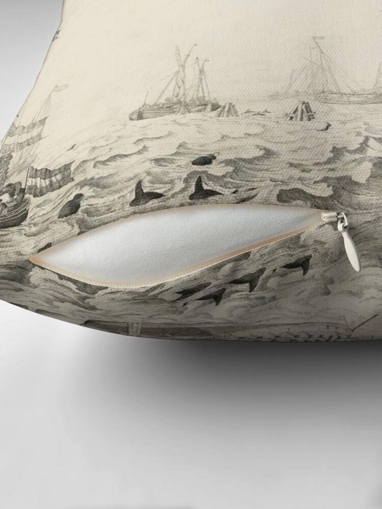 Alternate view of Dutch Ships near the Coast Oil Painting by Willem van de Velde the Elder Throw Pillow