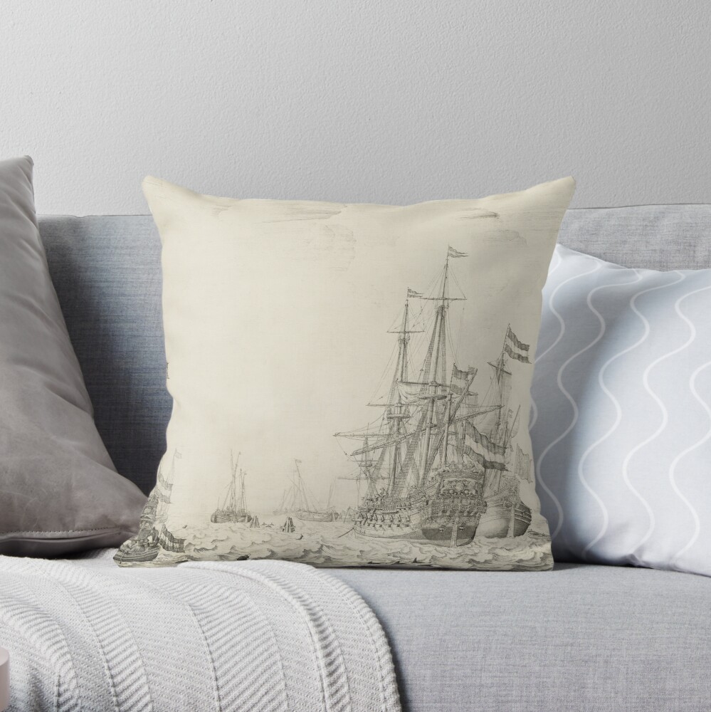 Dutch Ships near the Coast Oil Painting by Willem van de Velde the Elder Throw Pillow