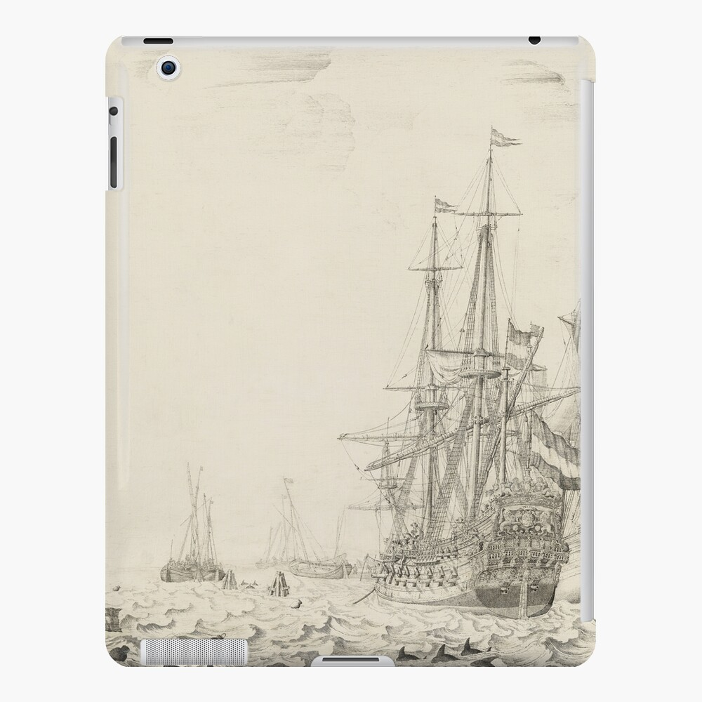 Dutch Ships near the Coast Oil Painting by Willem van de Velde the Elder iPad Case & Skin