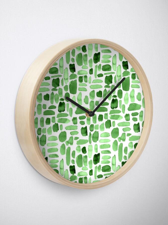Alternate view of Watercolor Paint Brush Stroke Pattern - Green Clock