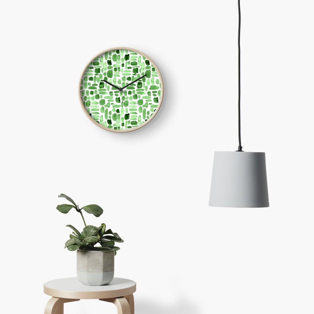 Watercolor Paint Brush Stroke Pattern - Green Clock