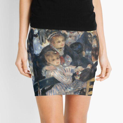 Bal du Moulin de la Galette Oil Painting by Auguste Renoir Mini Skirt