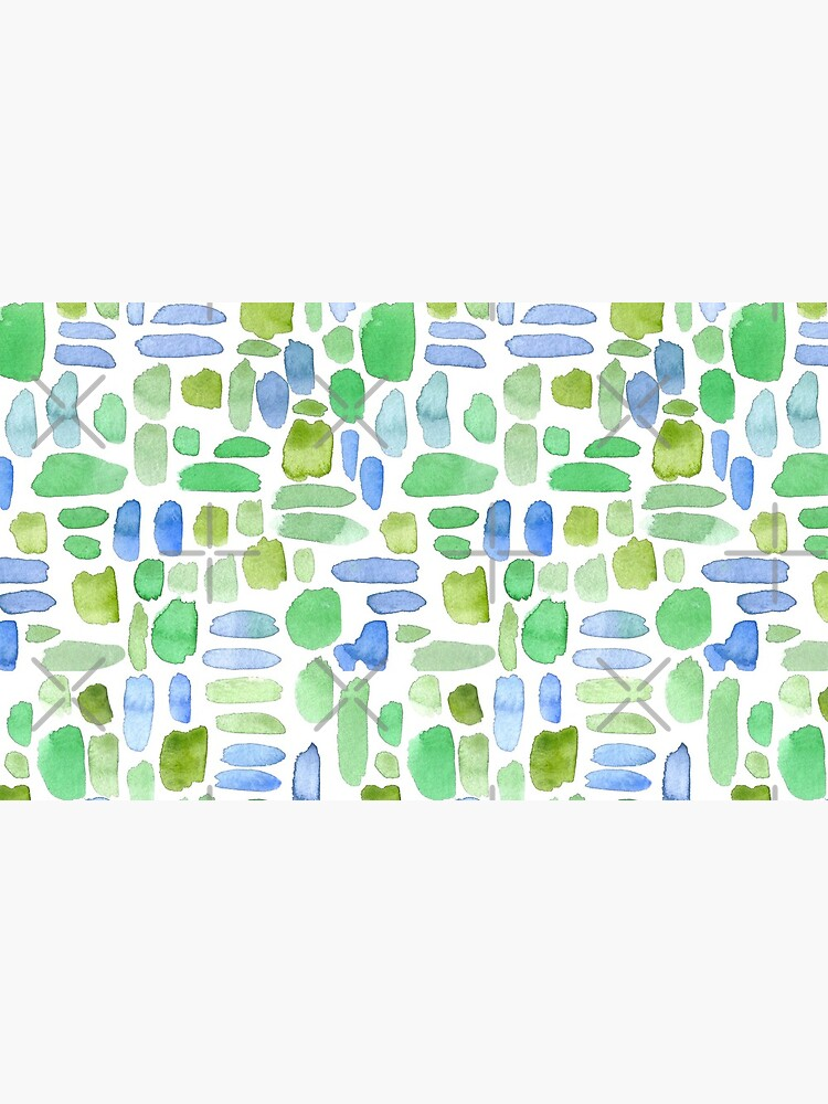 Watercolor Paint Brush Stroke Pattern - Blue, Green, Olive by annieparsons