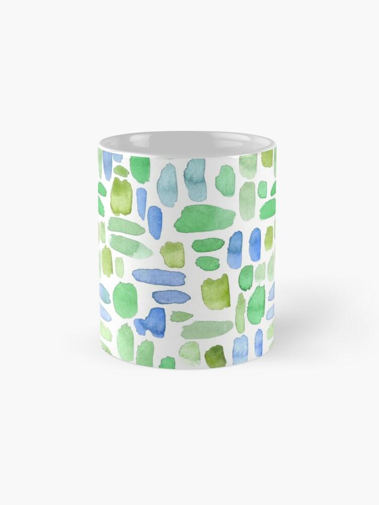 Alternate view of Watercolor Paint Brush Stroke Pattern - Blue, Green, Olive Mug