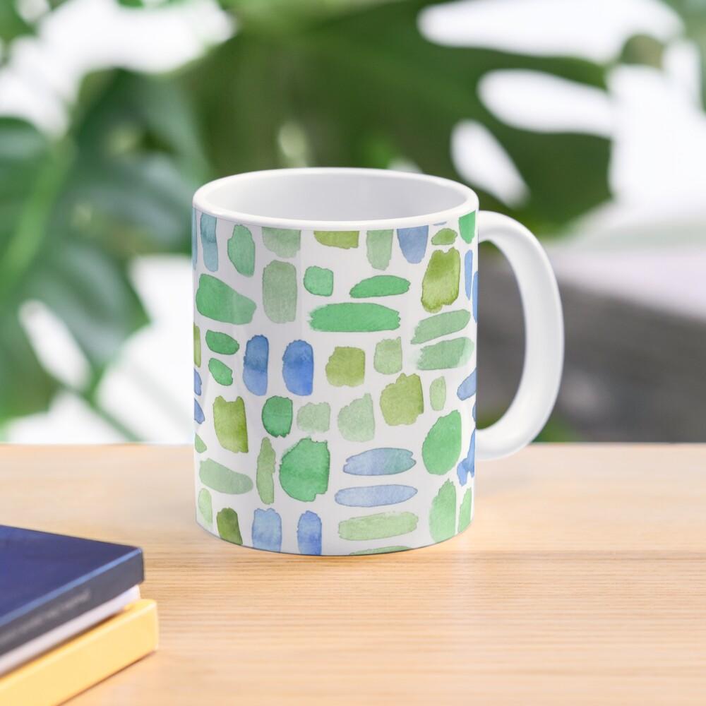 Watercolor Paint Brush Stroke Pattern - Blue, Green, Olive Mug