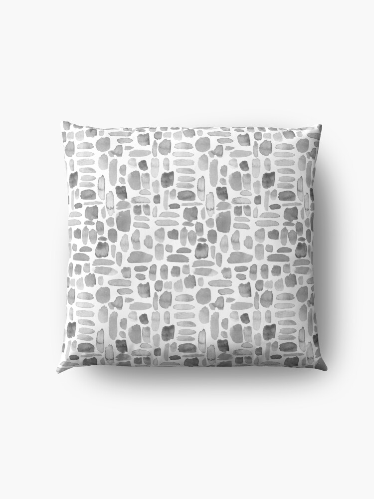 Alternate view of Watercolor Paint Brush Stroke Pattern - Gray Floor Pillow