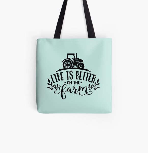 Funny Farmer Country Girl Farm Horses Tractor Chickens Cow  All Over Print Tote Bag