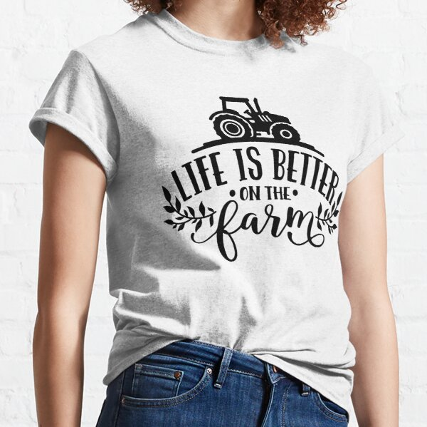 Funny Farmer Country Girl Farm Horses Tractor Chickens Cow  Classic T-Shirt