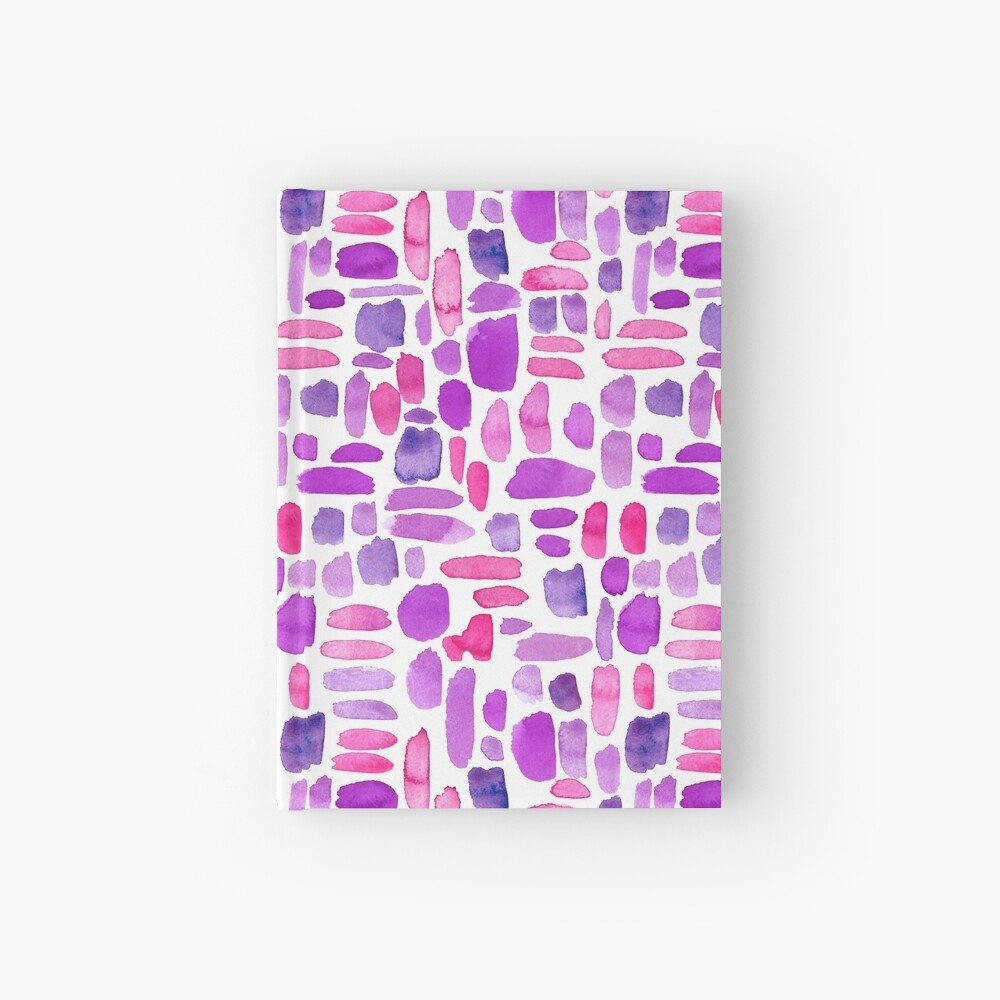 Watercolor Paint Brush Stroke Pattern - Magenta, Purple, Pink Hardcover Journal