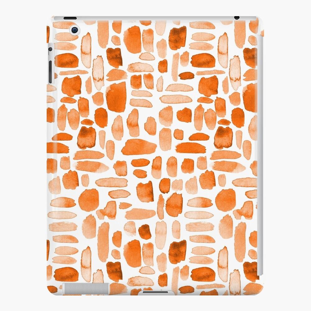 Watercolor Paint Brush Stroke Pattern - Orange iPad Case & Skin
