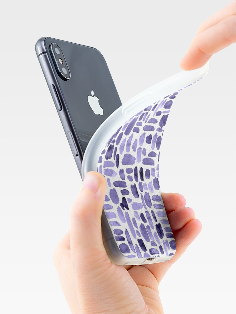 Alternate view of Watercolor Paint Brush Stroke Pattern - Purple iPhone Case & Cover