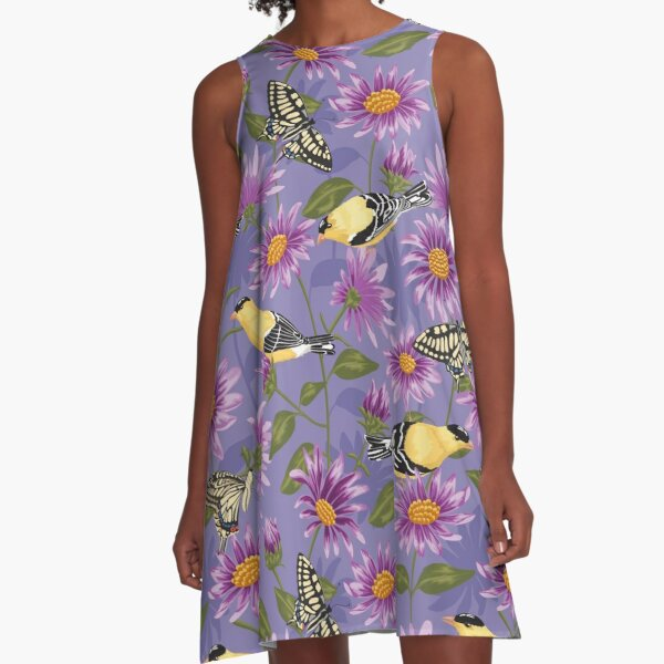 Goldfinches and Purple Asters large scale A-Line Dress
