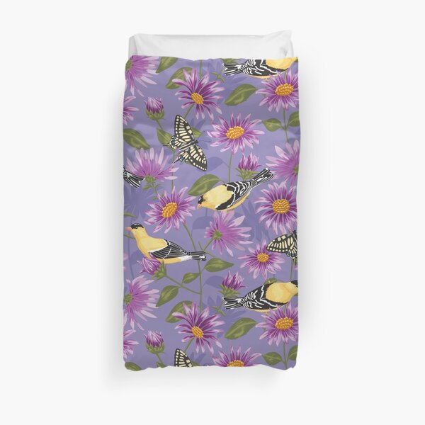 Goldfinches and Purple Asters large scale Duvet Cover
