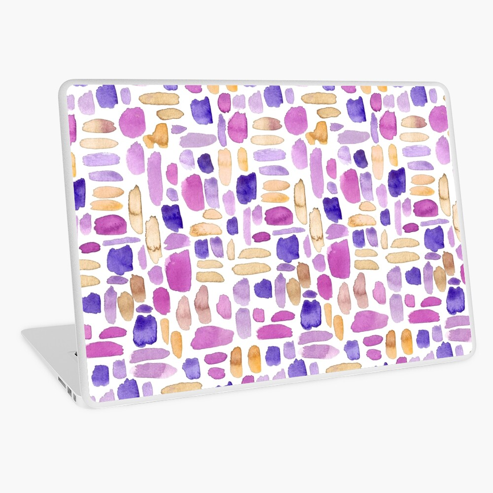 Watercolor Paint Brush Stroke Pattern - Purple, Yellow, Pink Laptop Skin