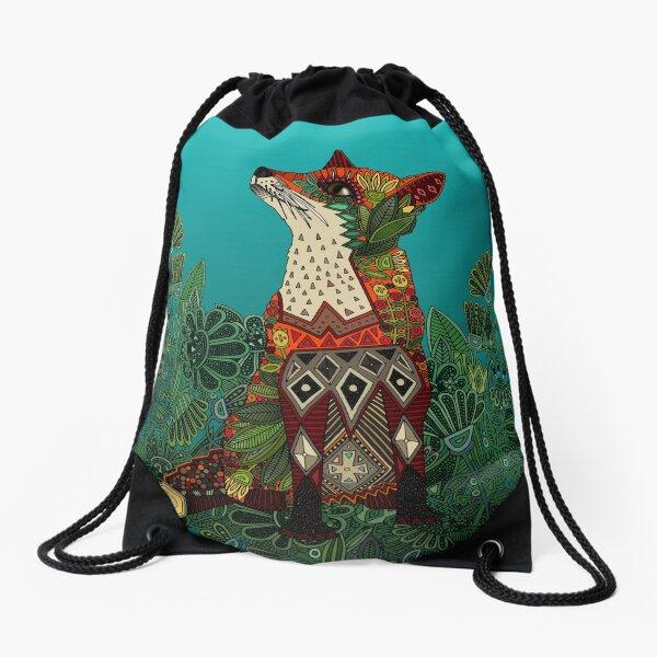 floral fox Drawstring Bag