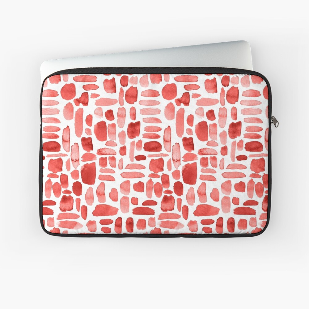 Watercolor Paint Brush Stroke Pattern - Red Laptop Sleeve