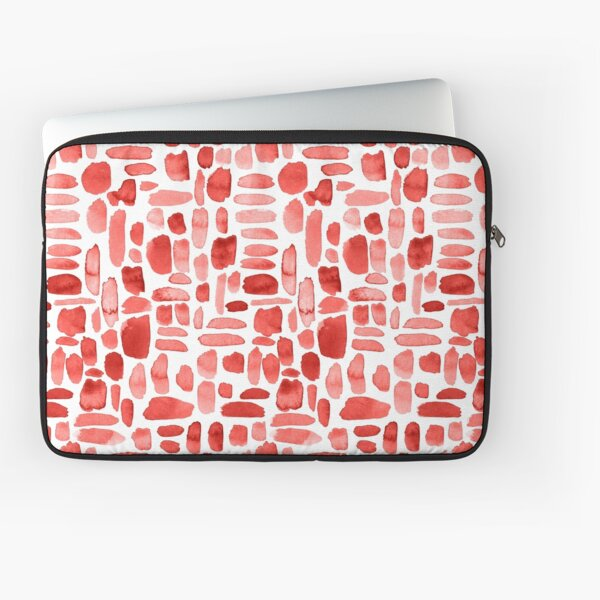Watercolor Paint Brush Stroke Pattern - Red Laptop Sleeve