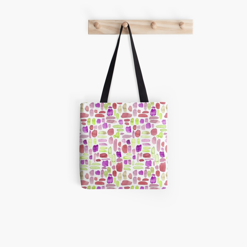 Watercolor Paint Brush Stroke Pattern - Red, Green, Purple Tote Bag
