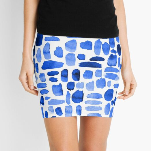 Watercolor Paint Brush Stroke Pattern - Royal Blue Mini Skirt