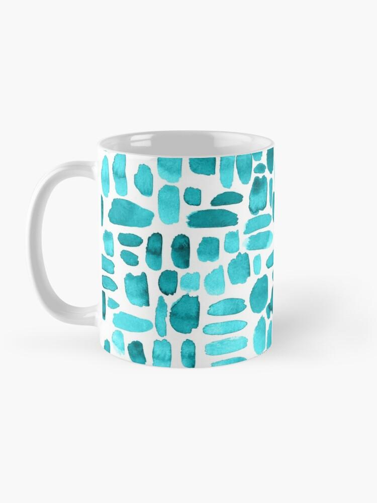 Alternate view of Watercolor Paint Brush Stroke Pattern - Teal Mug