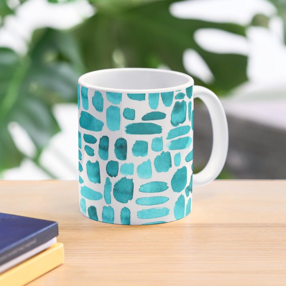 Watercolor Paint Brush Stroke Pattern - Teal Mug
