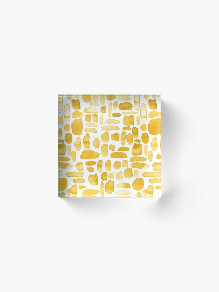 Alternate view of Watercolor Paint Brush Stroke Pattern - Mustard Yellow Acrylic Block
