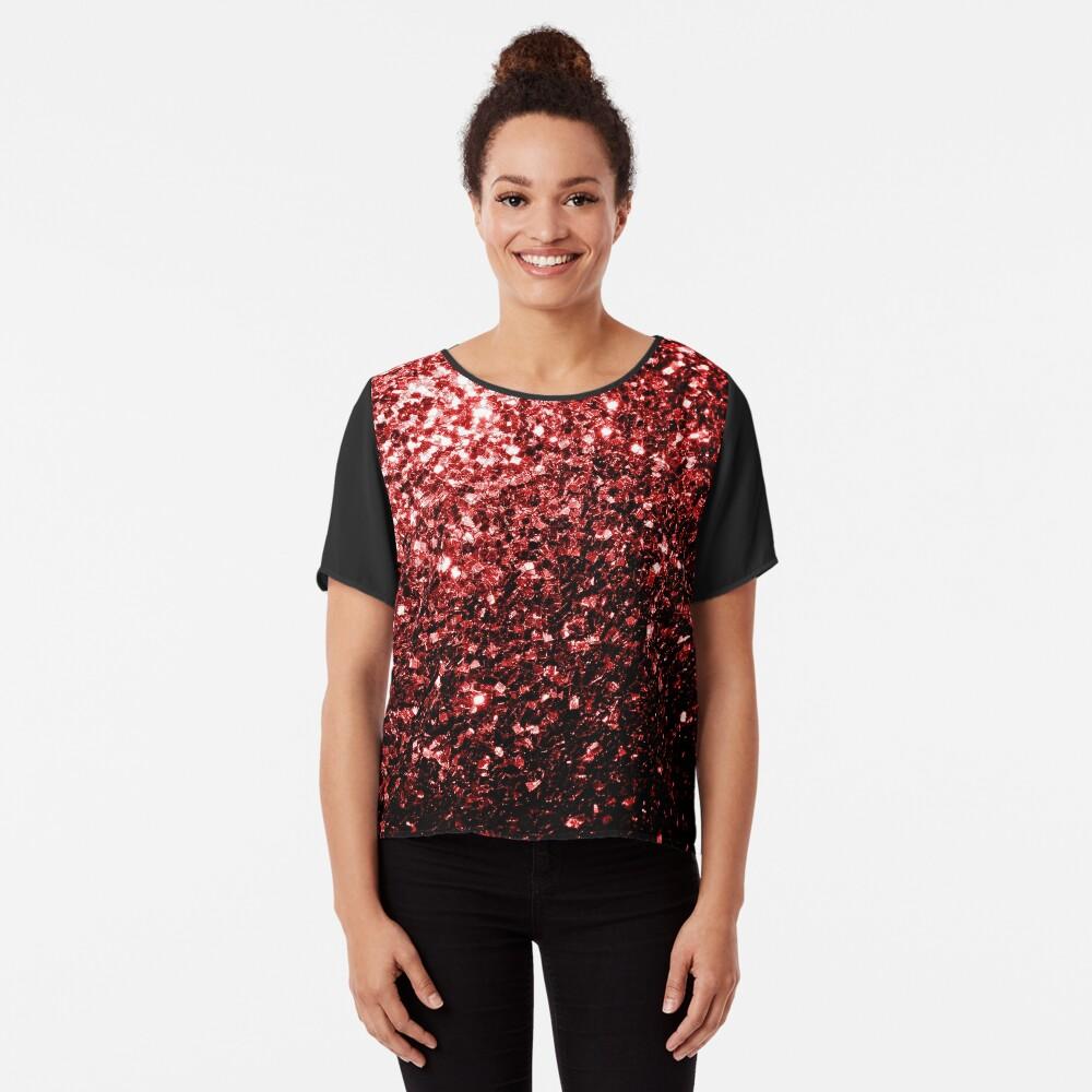 Glamour hermoso brillo rojo brilla Blusa