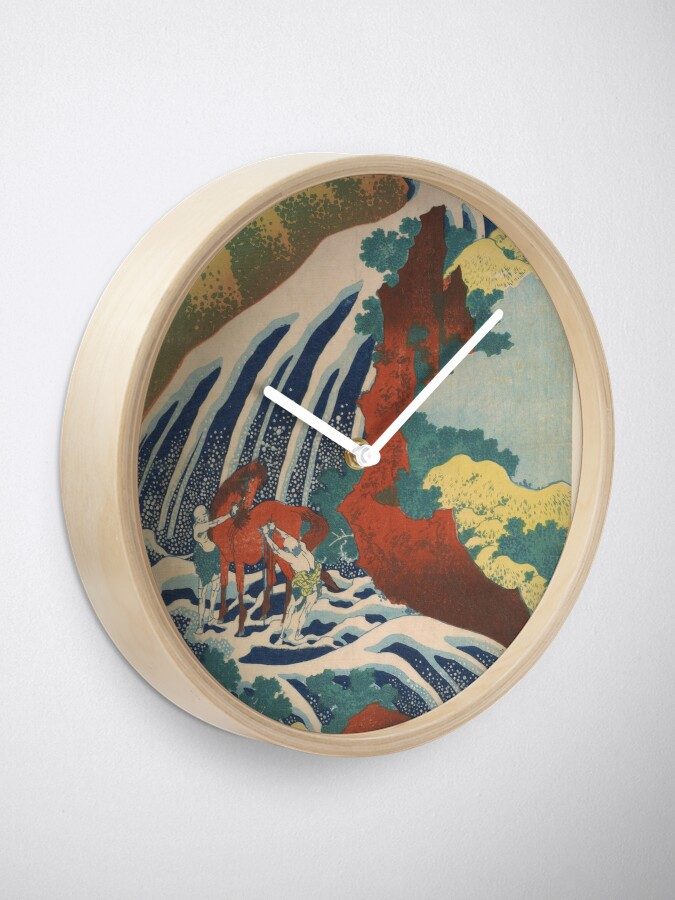 Alternate view of Yoshino Waterfalls Where Yoshitsune Washed his Horse by Katsushika Hokusai Clock